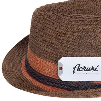 Aerusi Women's [Brown] August Straw Fedora Hat with Woven Belt Band