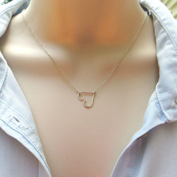 Tiny Sideways Heart Necklace. Sterling Silver Heart Necklace. Heart Pendant Necklace. Delicate Heart Necklace.