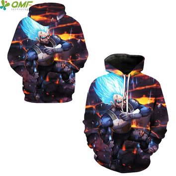 Vegeta Super Saiyan Blue Digital Print Skateboarding Hoodies Men Running Sweatshirts Dragon Ball Z Hooded Hoody Outerwear Coat
