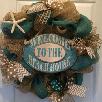 Nautical/Beach/Seashell burlap deco mesh wreath Copy
