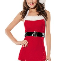 Sexy Santa Claus Costume Outfit Halter Dress Set
