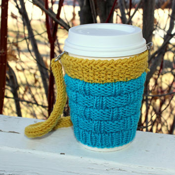 Knitted cup cozy Hands-free carrying coffee cozy. Starbucks cup sleeve Travel mug cozy Scuba blue Turquoise. Mustard yellow. Eco-friendly