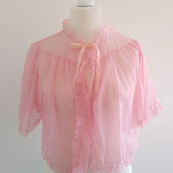 Vintage candy stripe bed jacket - 1960s pink striped capelet - sheer nylon pin up lingerie