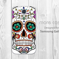 Samsung Galaxy S4 Case sugar skull, Galaxy S3 Case tattoo skull Galaxy Note 2 soft rubber case, tough Galaxy Note 3 Case, Galaxy S5 Case