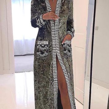 Luxe Touch Beaded Embellished Metallic Long Sleeve Crushed Velvet Open Lapel Knee Length Outerwear Coat - 3 Colors Available