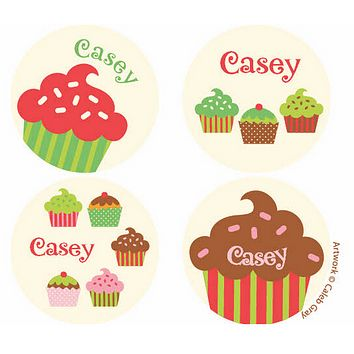 Cupcake Cream Personalized Stickers