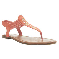 Metal Chevron T-Strap Sandals | Wet Seal