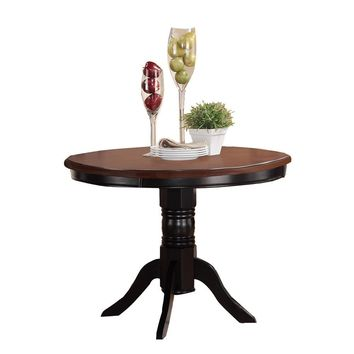 Acacia Rubber Wood Round Dining Table, Brown & Black