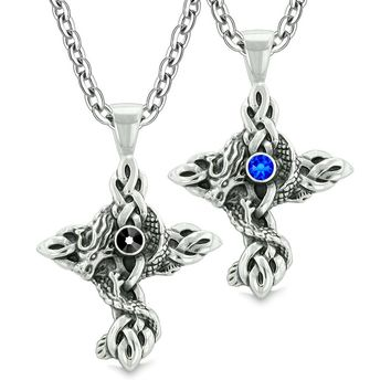 Fire Dragon Celtic Knots Protection Cross Amulets Love Couples or Best Friends Black Blue Necklaces
