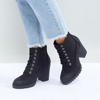 New Look Wide Fit Lace Up Cleated Sole Heeled Ankle Boot at asos.com
