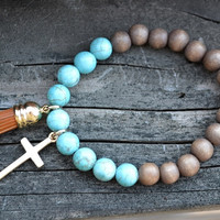 Clothed With Strength Bracelet - Turquoise