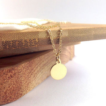 Tiny Gold Disc Gold Necklace - 14k gold filled small circle round coin, Gold Circle Pendant,- Delicate fine necklace, everyday jewelry