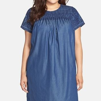 Plus Size Women's Lucky Brand Embroidered Chambray Shift Dress,