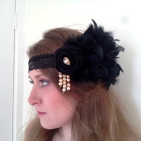 1920's Flapper headdress, headband, Bellydance, ATS, Wedding, Party, Flower, Embellished - 'Eternity''