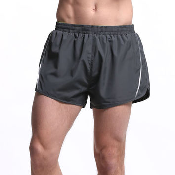 M-4XL Sports Men Running Shorts Breathable Quick Dry Black Gray Fitness Gym Short  Homme Big Size