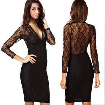 Hot Sale Deep V See Through Lace Mosaic Sexy One Piece Dress [4917746308]
