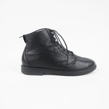 90s Black Leather Ankle Boots