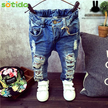 Children Broken Hole Pants Trousers 2016 Baby Boys Girls Jeans