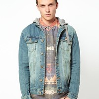 Another Influence Denim Jacket With Jersey Hood