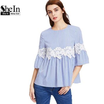 SheIn Women Blouses Summer 2017 Lace Applique Three Quarter Length Flare Sleeve Buttoned Keyhole Grid Babydoll Top