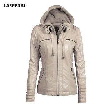PU Leather Zipper Hooded Jackets Women Long Sleeve Patchwork Pocket Autumn Winter Windbreaker Jacket Coat