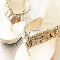 Thongs and Rhinestone Embellished Design Women's Wedge Slippers
