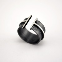 Oxidized Texturized Sterling Silver Band Ring by mariagotijoyas