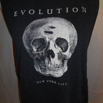 Happy Halloween SALE retro reworked cutoff tank muscle    Tshirt Tank Top  skeleton    black    Evolution New York City