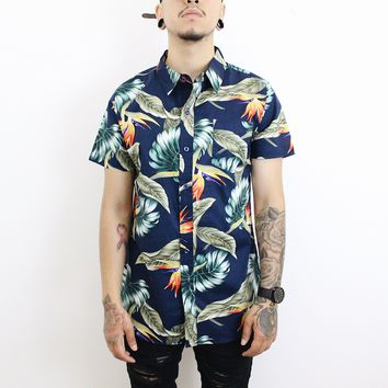 John Floral Button Up T-Shirt (Navy)