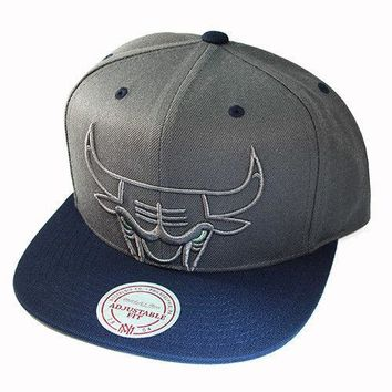 Men's Chicago Bulls Gray and Navy Big Bulls Logo Mitchell & Ness Snapback