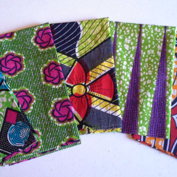 FAT QUARTER BUNDLE--African Wax Print--Lime Green 5-pack bundle