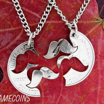 Mustache Necklace Interlocking Relationship Set Quarter, hand cut coin