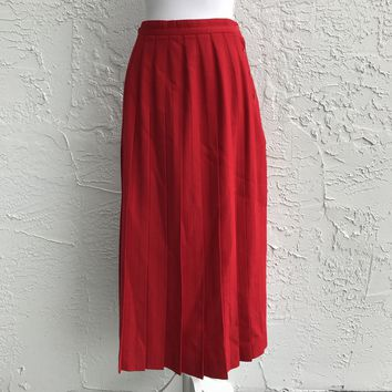 Vintage Talbots Pleated 100% Wool Red Skirt, Size 8