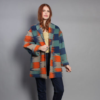 80s SW Print BLANKET COAT / Native Inspired Wool Concho Button Jacket, s-m