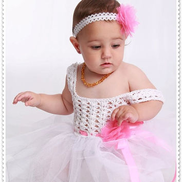 Crochet tulle Dress + Headbands 0-6 years PATTERN