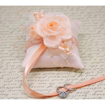 Peach Ring Pillow attach to Dog Collar, Ring Bearer, Pet wedding, Peach wedding