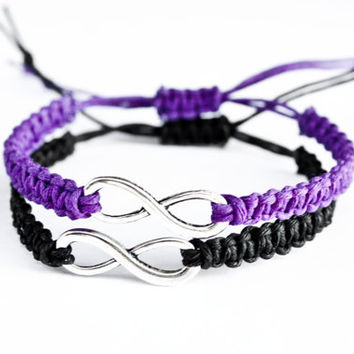 Infinity Couples Bracelets Purple and Black