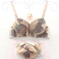 2015 new arrival Japanese leopard fur women bra set fall and winter sexy lingerie push up ladies girls bras and underwear sets