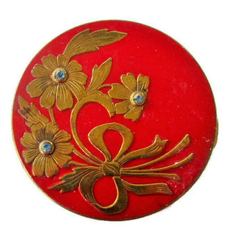 Vintage Art Deco Rex Fifth Ave Powder Compact, Red Enamel Brass and Sapphire Rhinestones, A Handful of Elegance