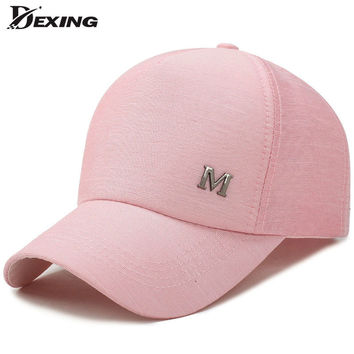 [Dexing] 2017 new metal letter  M  pink classic  5 panel women baseball cap ladies youth snapback casquette