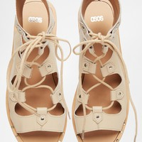 ASOS FAYE Guilly Tie Leather Sandals at asos.com