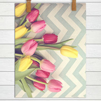 Tulips and Chevrons - Photographic Print - Yellow, Red, Pink, Floral, Happy, Whimsical, Zigzag, Art, Wall Hanging, Decor, Blue, Feminine,