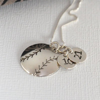 Hand-Stamped Baseball or Softball Necklace with Two Circle Charms stamped with Numbers- Baseball Mom Necklace