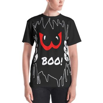 Women's All-over-print T-shirt, cut & sew girls clothing - Boo! Funny monster face design