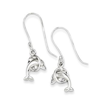 Small 3D Polished Dolphin & Hoop Dangle Earrings in Sterling Silver