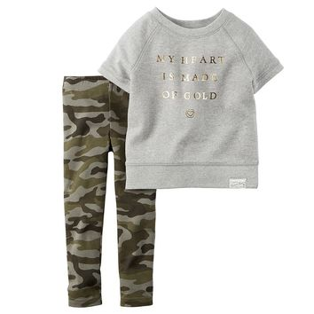 Carter's French Terry Tee & Camo Leggings Set - Toddler Girl, Size:
