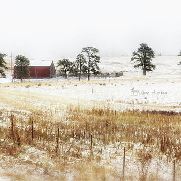 Barn Landscape Photography, Rustic Farmhouse Decor, Oversized Wall Art, Country Print, Winter Scene | 'Through The Fog'