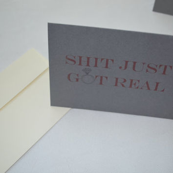 Will you be my Bridesmaid Card Shit Got Real Card Diamond Bridesmaid Card Funny Bridesmaid Card Bridesmaid Proposal Card Be My Maid of Honor
