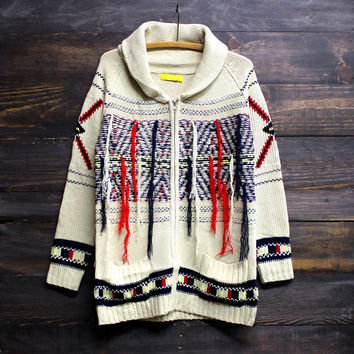 fringe with benefits indie cardigan bohemian thick knit cozy women's fall winter fashion boho hippie gypsy southern country tribal native