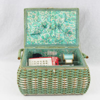 Vintage 1960s DRITZ Wicker Sewing Basket, Turquoise / Sea Foam Green